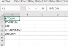 Movimiento de celdas en Excel